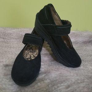 FLY London suede comfort shoe velcro wedge 37
